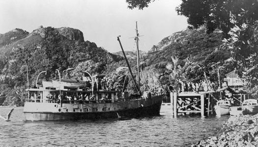 Great Barrier Island New Zealand  city pictures gallery : ... the wharf of Port Fitzroy, Great Barrier Island, New Zealand, ca 1910