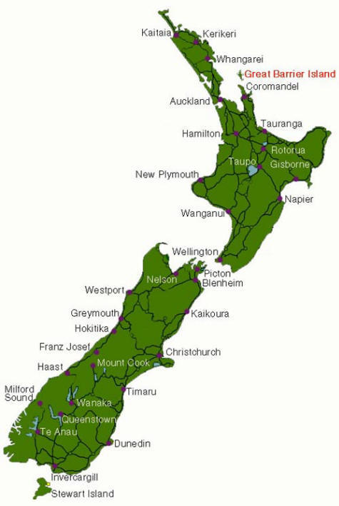 Map Of New Zealand - Map new zealand